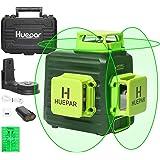Huepar 3D Green Laser Level 3x360 Cross Line Self-Leveling Green Beam Three-Plane Leveling and Alignment Laser Tool, Li-ion B