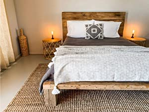 The Desert Sun Contemporary Style Platform Bed Frame and Headboard