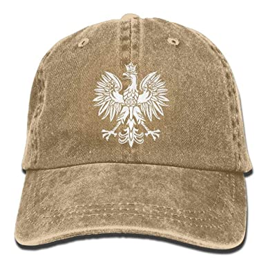 promo code b9f4e 4bc53 Image Unavailable. Image not available for. Color  Polska Eagle Poland Pride  Washed Retro Adjustable Cowboy Cap Trucker Hats for Women and Men