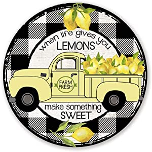 "When Life Gives You Lemons Make Something Sweet Wreath Sign -Black and White Plaid Lemon Wreath Sign - Summer Wreath Attachment 9""x9"""