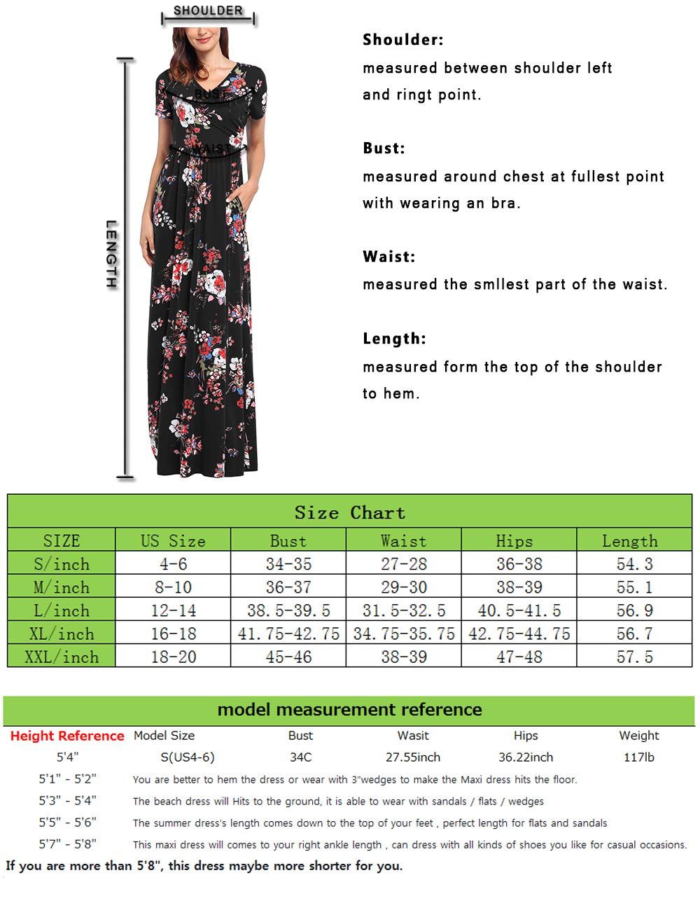 Comila Short Sleeve Maxi Dresses for Women, Summer V Neck Dress Pockets Vintage Floral Maxi Casual Dress with Pockets Elegant Work Office Long Dress Black S (US 4-6) by Comila (Image #7)