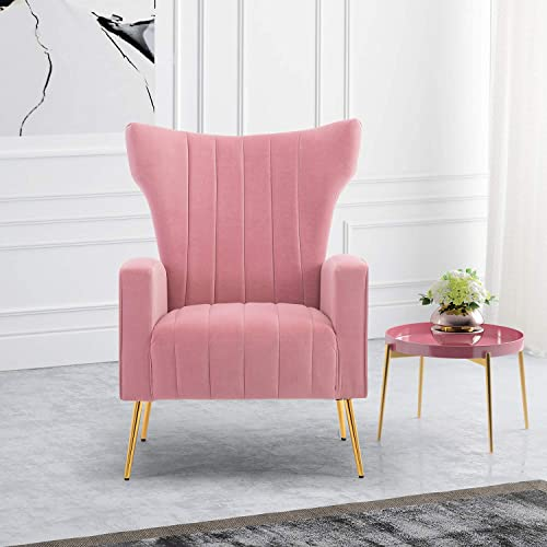 HOMEFUN Velvet Accent Chair, Upholstered Wing Back Arm Chair Single Sofa with Metal Legs for Living Room Bedroom Office, Pink