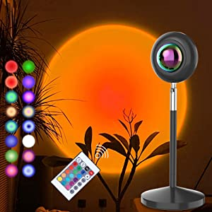 CRTHL Sunset Lamp - RGB 16Color Sunset Light, Projector Rainbow Light 180 Degree Rotation USB Charging Projection Led Night Light for Photography/Selfie/Home/Living Room/Bedroom Decor, Festival Gift