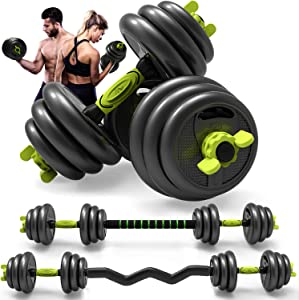 Adjustable Weight Dumbbell Curl Barbell Set 3-in-1 Dumbbell Set of 5/10/15/20/44, 66 lbs for Adult Gym Workout Strength Training with Curl Rod Used as Barbell,AB Roller