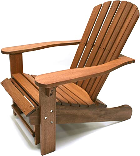 Outdoor Interiors CD3111 Eucalyptus Adirondack Chair and Built In Ottoman