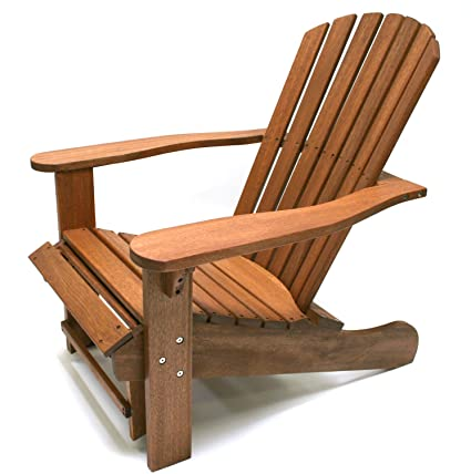 Merveilleux Outdoor Interiors CD3111 Eucalyptus Adirondack Chair And Built In Ottoman