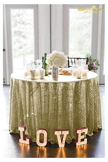 Sequin Matte Gold Table Cloth 90 Inch Round Tablecloth Matte Gold Table  Cloths For Parties~