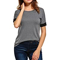 Naggoo Women's Casual Crew Neck Short Sleeve T Shirts Blouse Cotton Comfy Lightweight Top Tee
