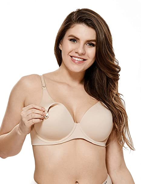 2036594012 Gratlin Women s Full Coverage Lightly Padded Underwire Contour Nursing Bra  Beige  34B