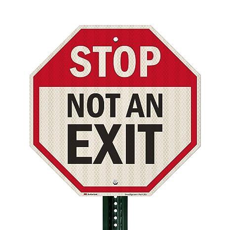 "* WARNING SIGN /""NO EXIT/"" 165 x 45 MM-Metal-self adhesive *"