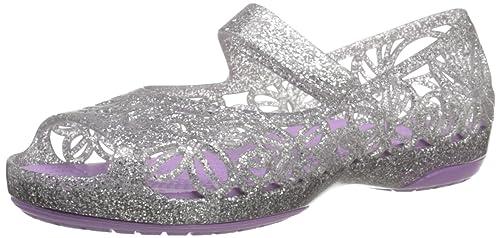 595dd0501cf3 crocs Girl s Isabella Glitter Flat PS Silver and Iris Flip-Flops-C10 (202602