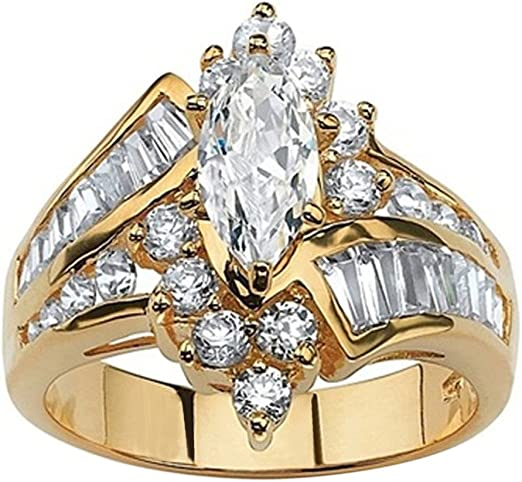 Rose Gold Ring Women Wedding Engagement Party Ring Jewelry Gifts 3pcs//set L