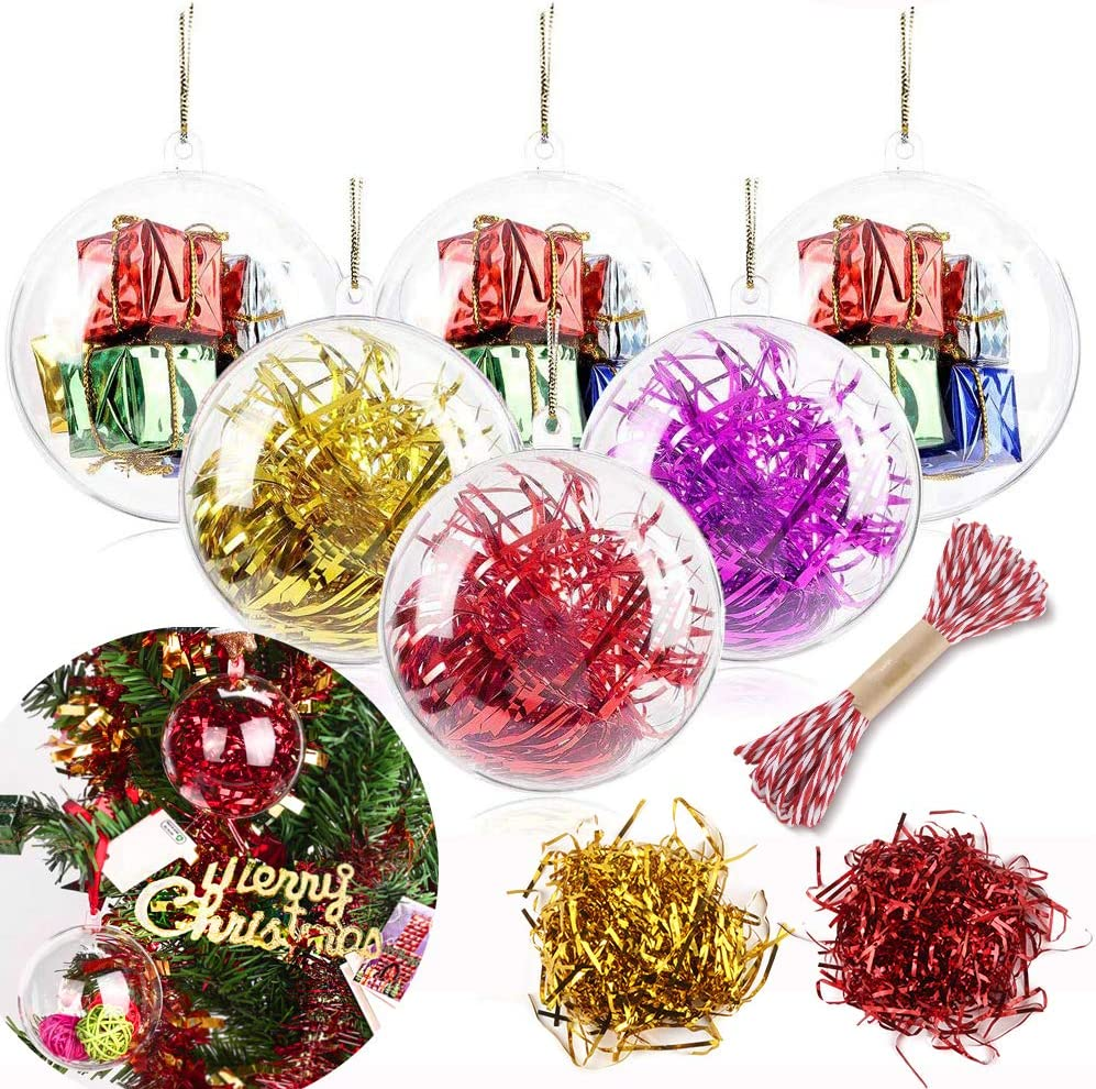 20Pcs 80mm/3.15in Clear Christmas Ornaments Balls, Plastic Fillable Clear Ornaments Balls Transparent Ball for Wedding Party Christmas Tree New Years Decoration Bath Bomb Mold