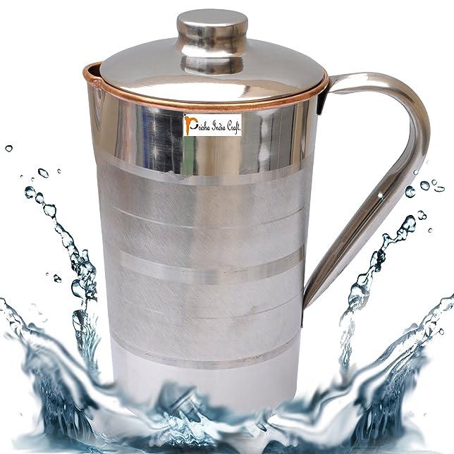 Prisha India Craft ® DIWALI GIFT Copper Jug Water Pitcher Luxury Design Outside Stainless Steel Utensils for Ayurveda Healing Capacity 1.6 L - FREE pitambari POWDER Glassware & Drinkware at amazon