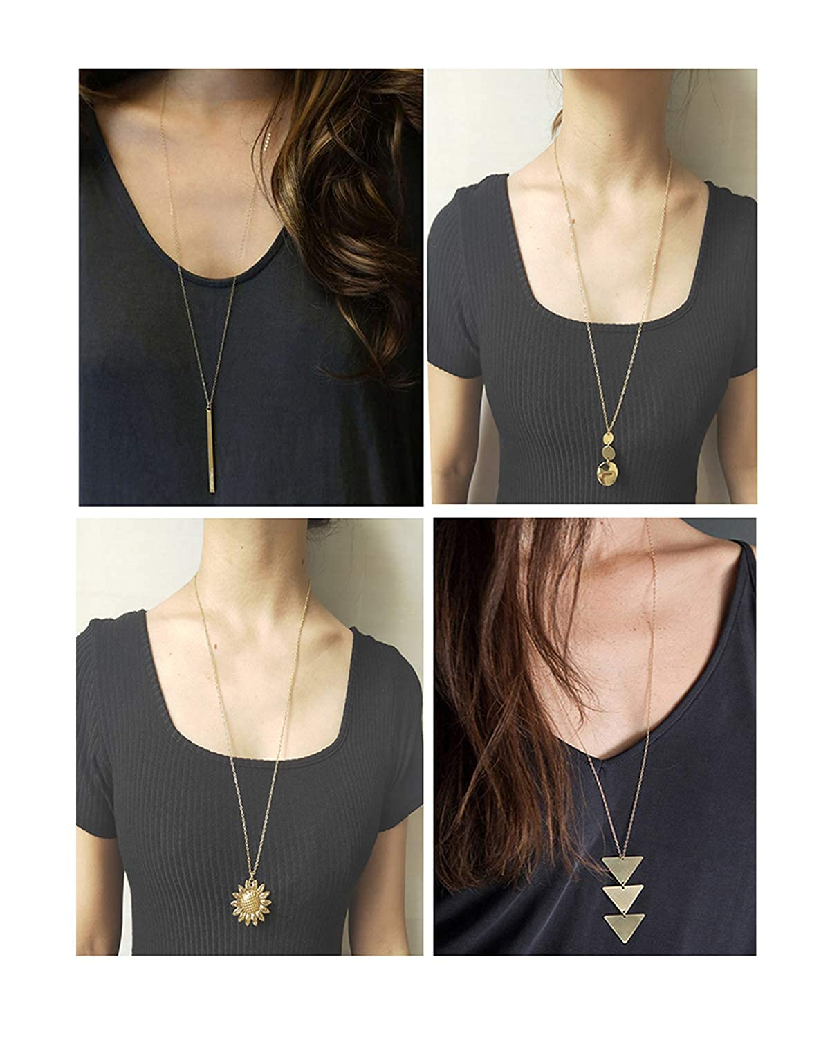 YANCHUN 2-4 Pieces Long Necklaces for Women Simple Bar Coin Disc Leaf Triangle Pendant Necklace Girls Jewelry Set