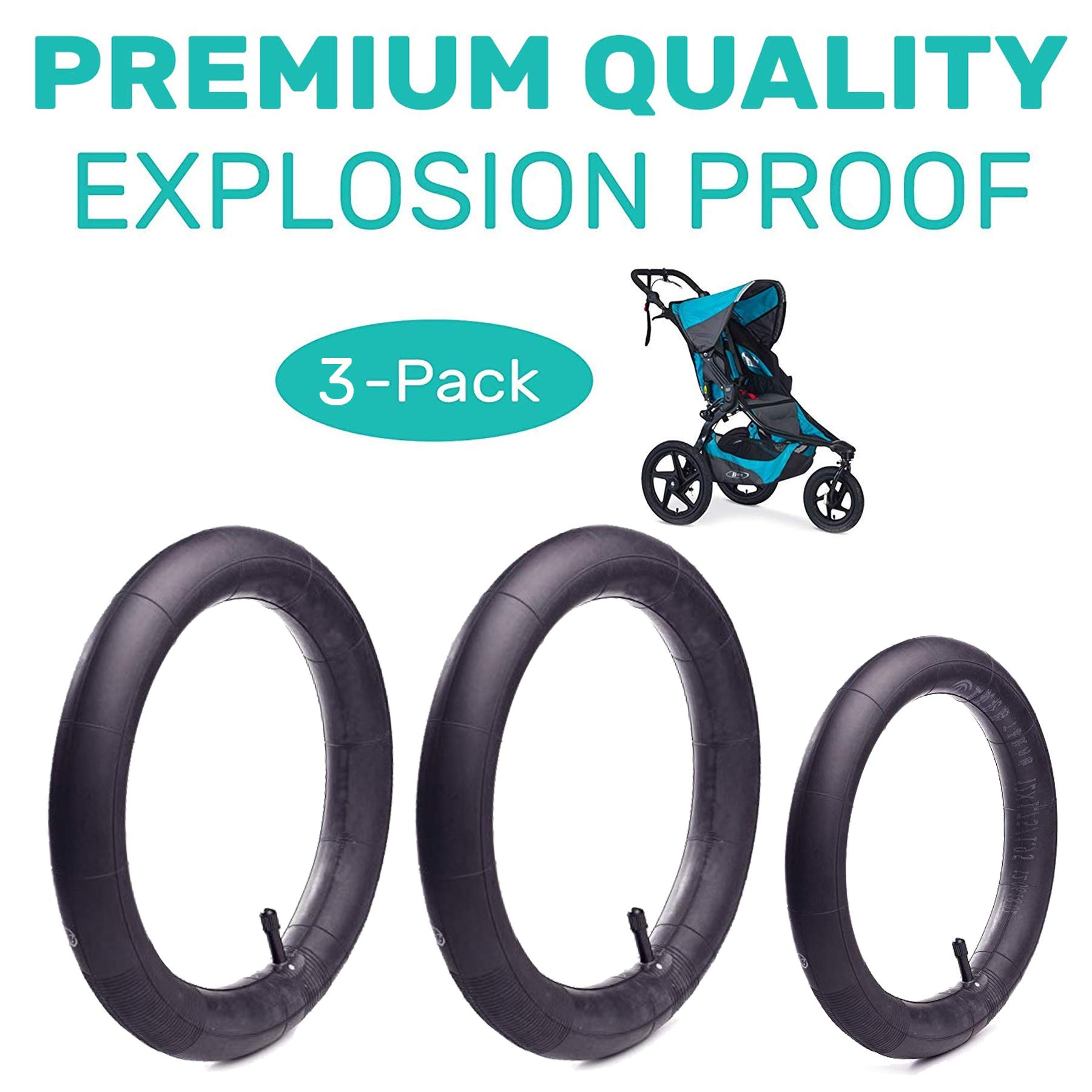 16'' Back and 12.5'' (2+1) Front Wheel Replacement Inner Tubes for BoB Stroller Tire Tube Revolution SE/Pro/Flex/SU/Ironman - Made from BPA/Latex Free Premium Quality Butyl Rubber