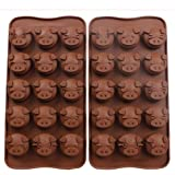 Webake 2 Pack Silicone Chocolate Molds, 15 Cavity Candy Molds, Mold for Chocolate (Pig shape)