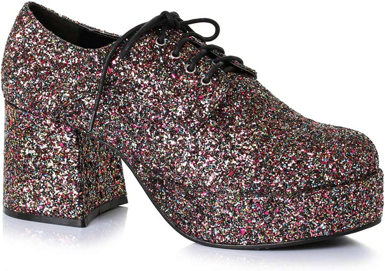 Funtasma Mens Glitter Shoes 3 1//2 Inch Platform Black Silver Stars Costume Mens Sizing
