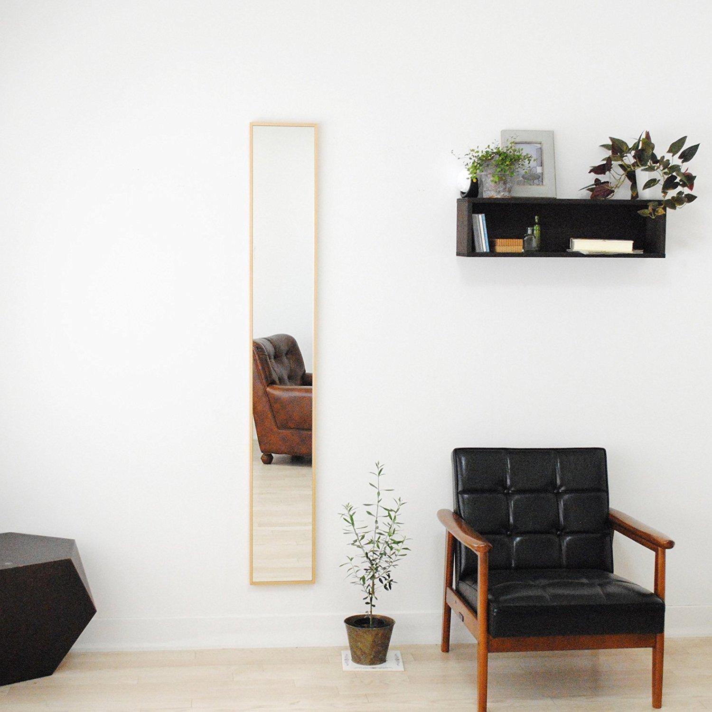 SENNOKI 細枠 全身 鏡 姿見 壁掛け ウォールミラー ナチュラル 日本製 22cm×153cm B0714BYZZY ナチュラル ナチュラル