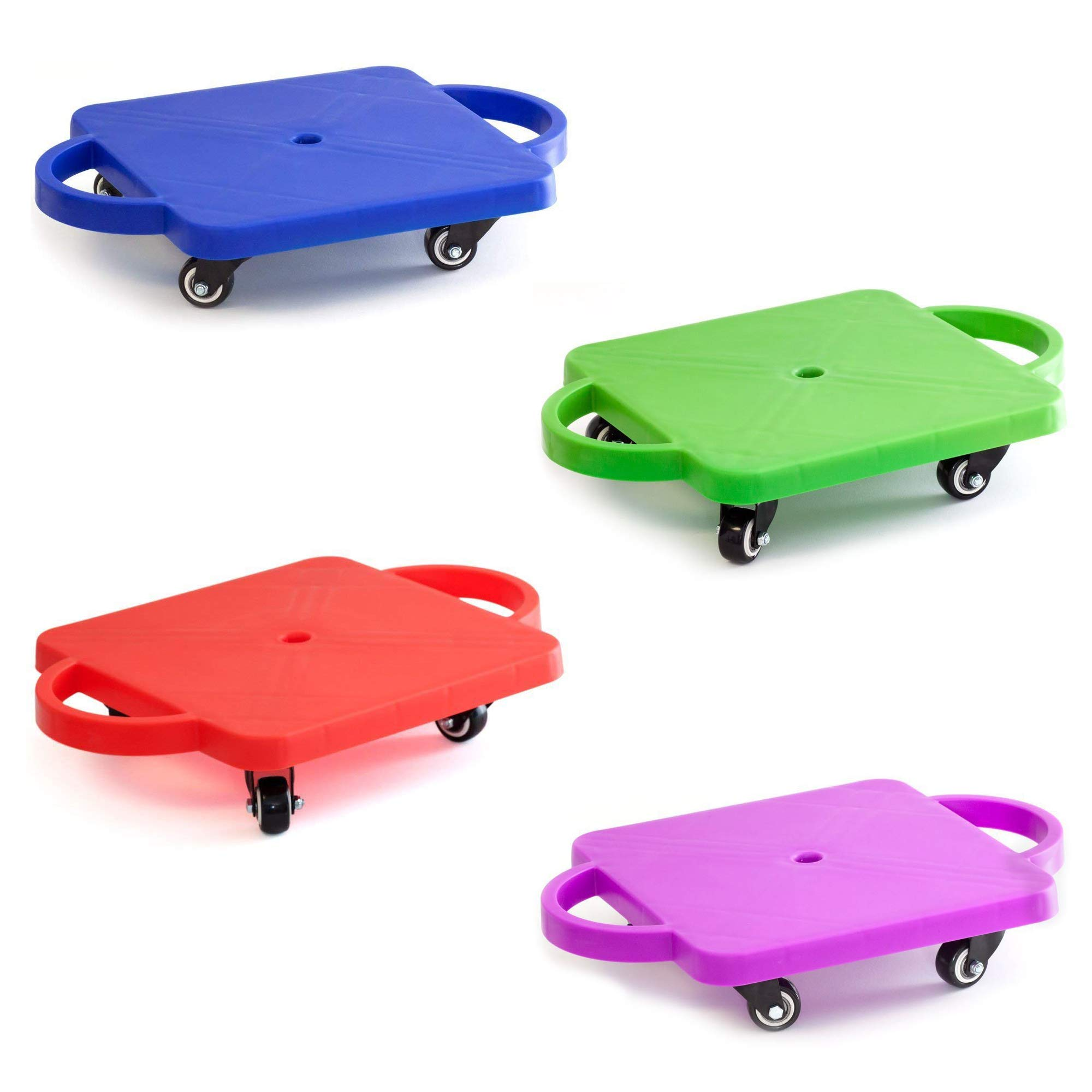 GSE Games & Sports Expert Gym Plastic Scooter Board with Handles (6 Colors Available) (4-Pack) by GSE Games & Sports Expert