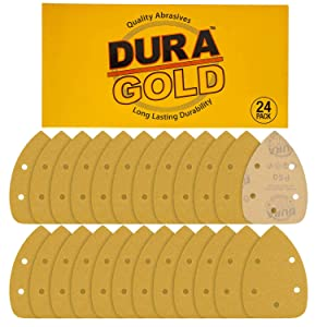 Dura-Gold - Premium Hook & Loop - 24 Sheets of 60 Grit 5-Hole Hook & Loop Sanding Sheets for Mouse Sanders - Box of 24 Sandpaper Finishing Sheets for Automotive and Woodworking