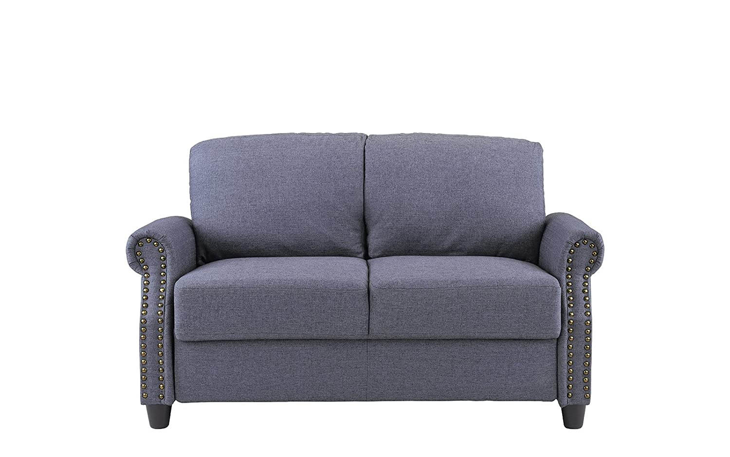 Sofamania Classic Living Room Linen Loveseat with Nailhead Trim and Storage Space Blue