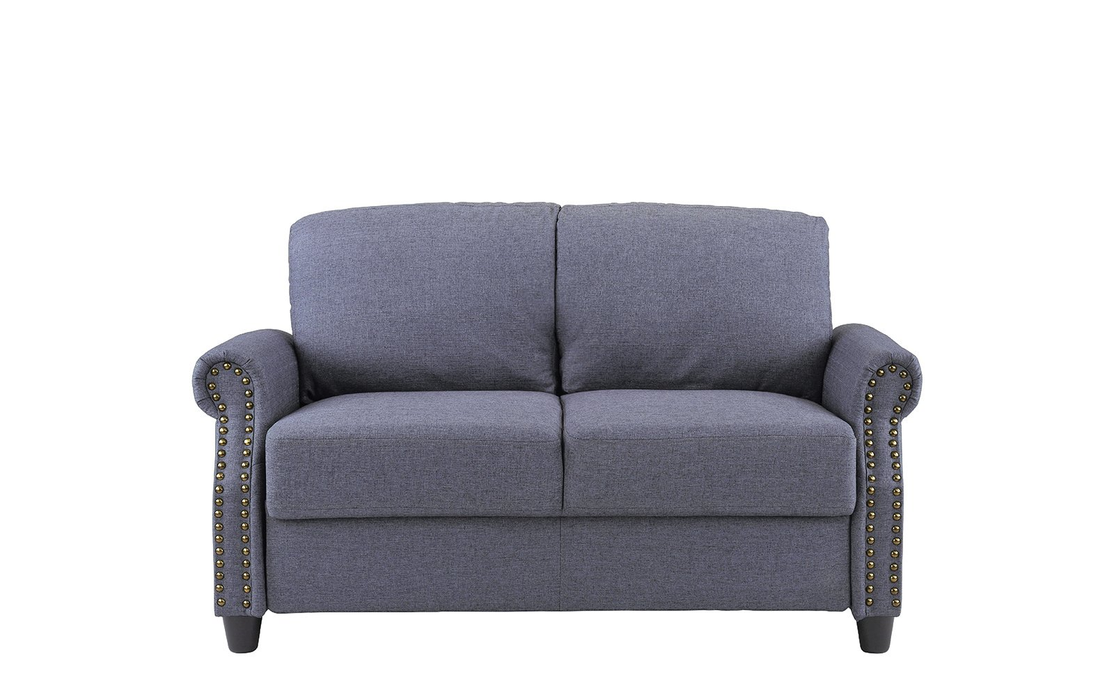 Classic Living Room Linen Loveseat with Nailhead Trim and Storage Space (Blue) by Sofamania (Image #2)