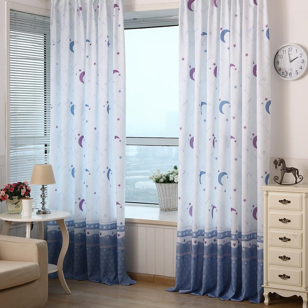 Sunsoaruk Moon Star Voile Window Curtain Sheer Panel Tassel Tulle Curtains for Bedroom Living Room Home Decoration