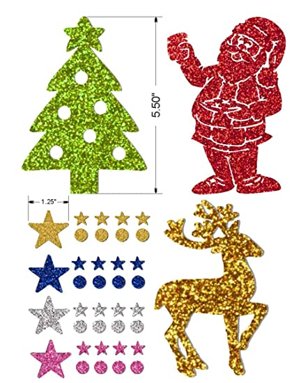 Christmas Cutouts.Self Adhesive Glitter Stickers Christmas Cutouts Includes