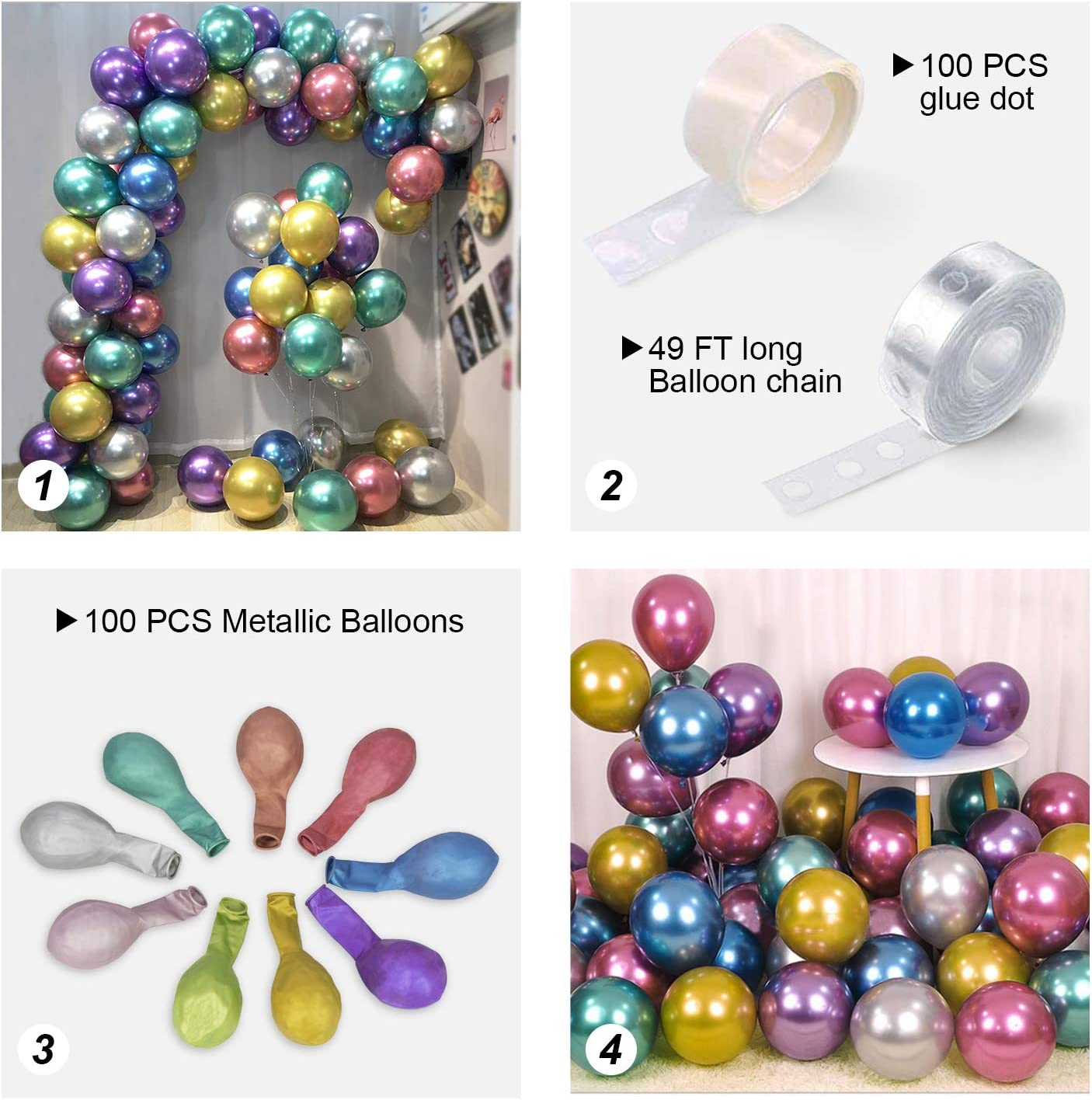9 Colors 100pcs Metallic Balloons Arch KIT for Party,12inch Premium Thick Chrome Latex Metal Multicolor Balloon with Arch Accessories,for almost Party Decorations Birthday Wedding Carnival