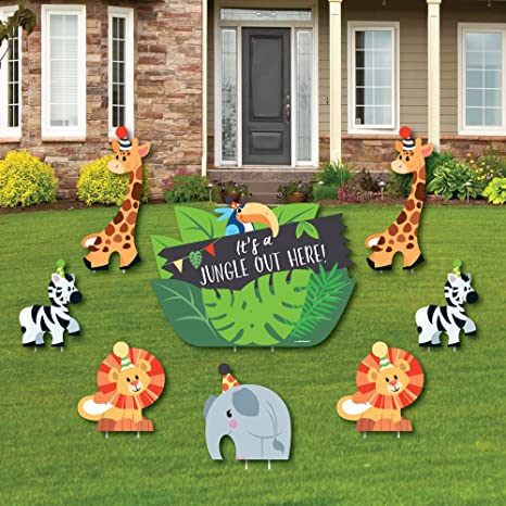 Jungle Party Animals   Yard Sign U0026 Outdoor Lawn Decorations   Safari Zoo  Animal Birthday Party