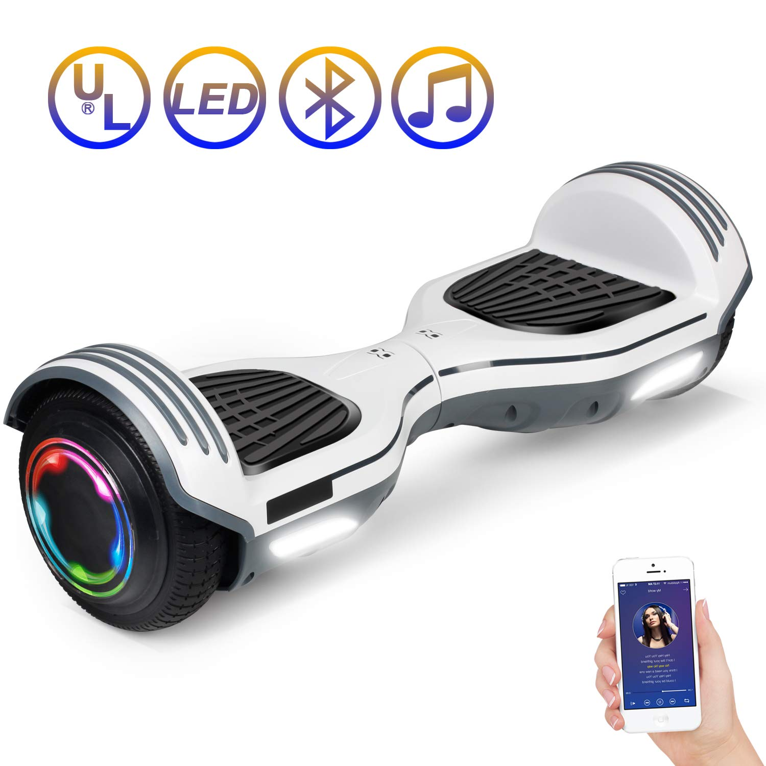 SISIGAD Hoverboard Self Balancing Scooter 6.5'' Two-Wheel Self Balancing Hoverboard with Bluetooth Speaker Electric Scooter for Adult Kids Gift UL 2272 Certified 138A Series - White