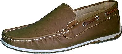 Elifano Footwear Zapatos para Hombre Cuero Mocasines Ligeros Casuales Barco Mocasines Zapatos Británicos Comercio Trabajo Zapatillas (Marron Claro, 45EU): Amazon.es: Zapatos y complementos