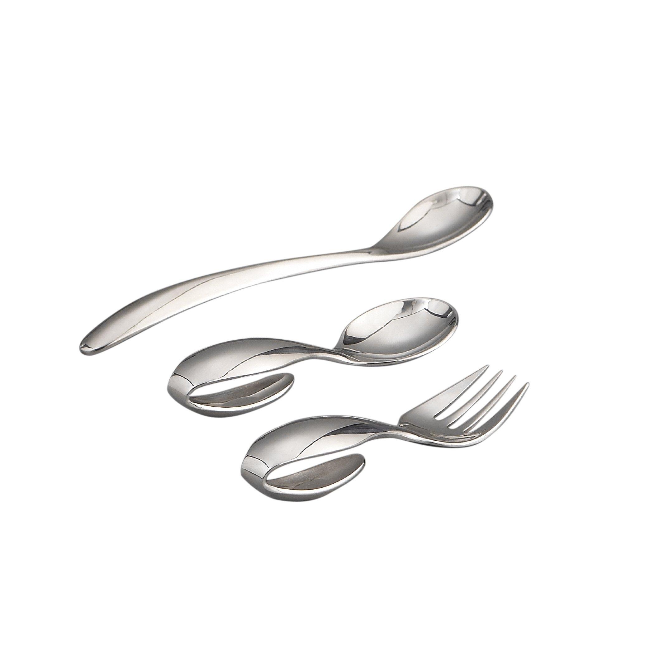 Nambe Baby Feeding Set - Loop Spoon, Loop Fork, and Feeding Spoon by Nambè