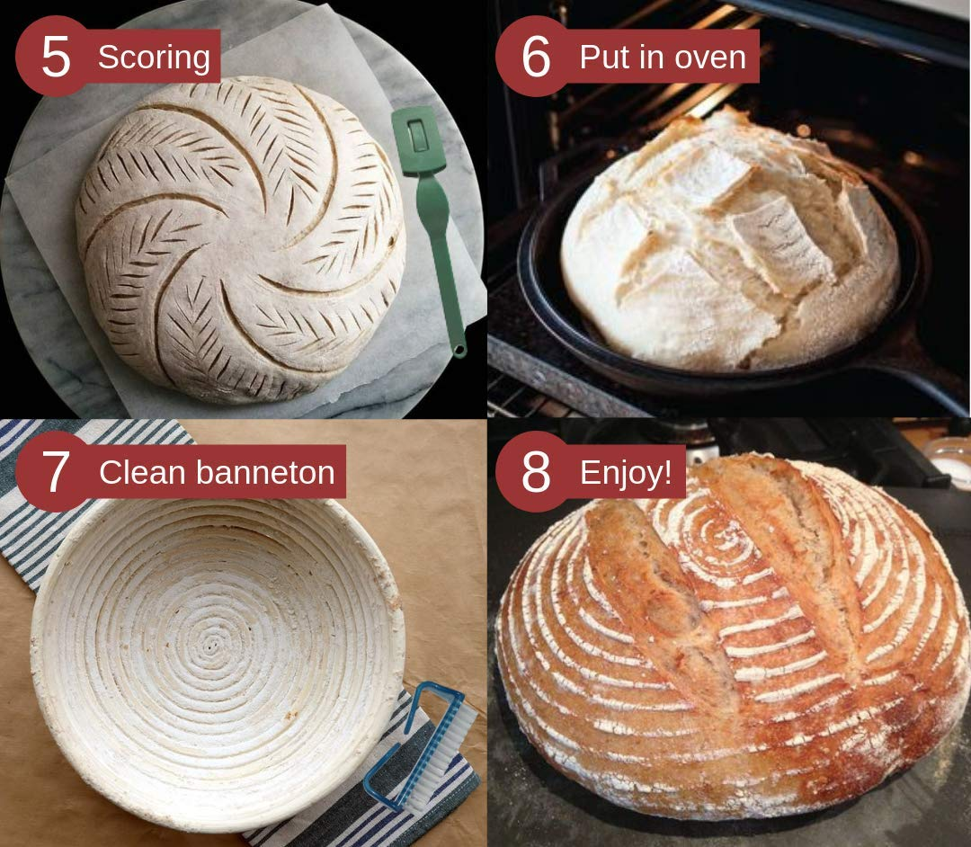 BreadBasics Banneton Proofing Basket   Premium Homemade Bread Starter Kit for Beginners   Includes Step by Step eBook, Bowl Scraper & Whisk, Lame, Brotform Liner, Cleaning Brush   Sourdough Supplies by BreadBasics (Image #5)