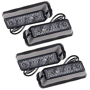 4pcs 4-LED White Dash Grille Warning Emergency Beacon Car Truck Strobe Light Bar