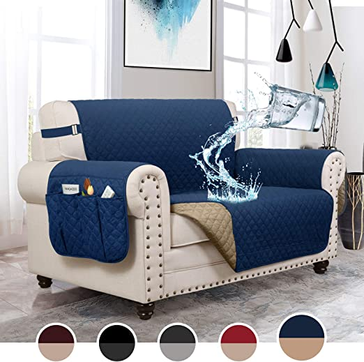 MOYMO Reversible Futon Cover,Durable Futon Slipover with 2 Inch Strap,Futon Protector with Pockets,Machine Washable Futon Covers for Living Room Futon:Navy Blue//Brown Children Pets,Kids