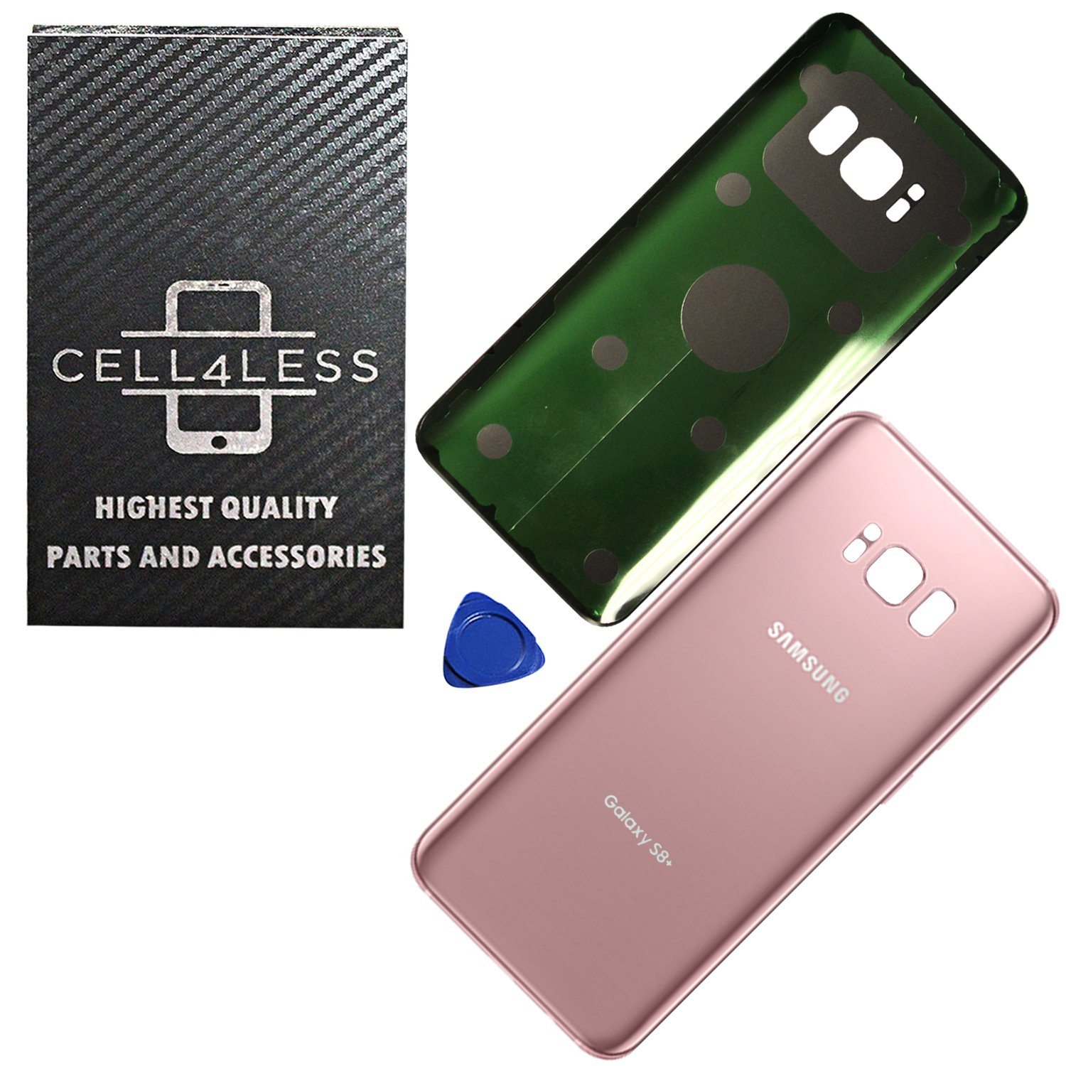 OEM Replacement CELL4LESS Replacement Back Glass Cover Back Battery Door w//Pre-Installed Adhesive for Samsung Galaxy S8+ Plus OEM Arctic Silver All Models G955 All Carriers- 2 Logo