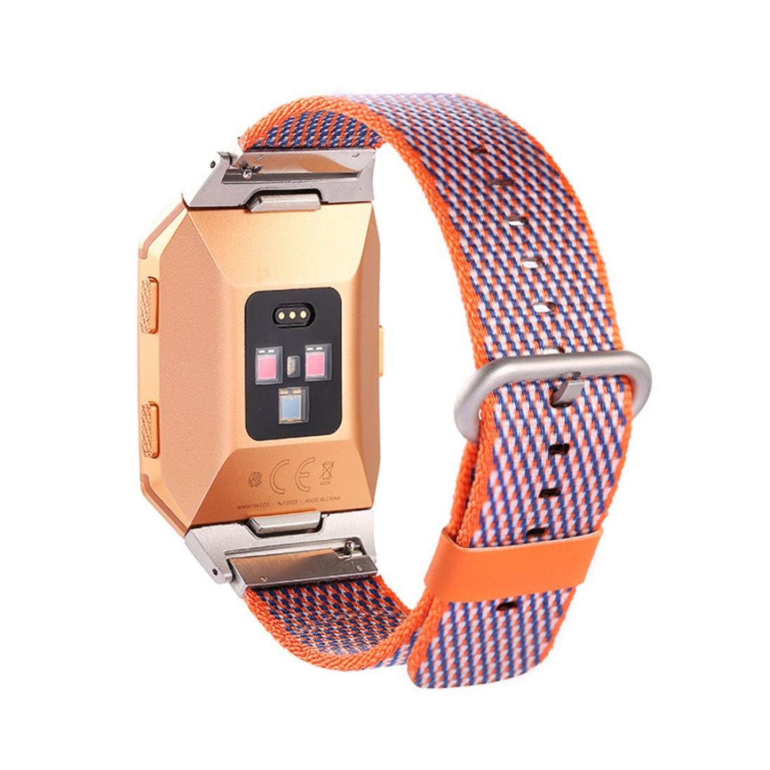 For Fitbit Ionic Bands, Gotd Woven Nylon Sport Straps Accessory Replacement for Fitbit Ionic Smart Fitness Watch Women Men (Orange)