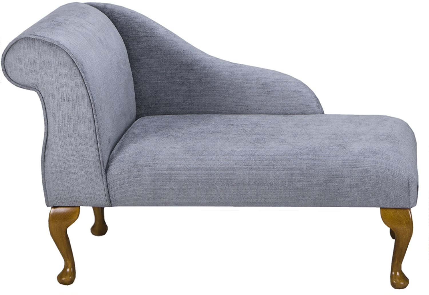 """41"""" Small Classic Chaise Longue - Chair Seat - Topaz Slate Fabric - Left Facing With Queen Anne Legs Beaumont"""