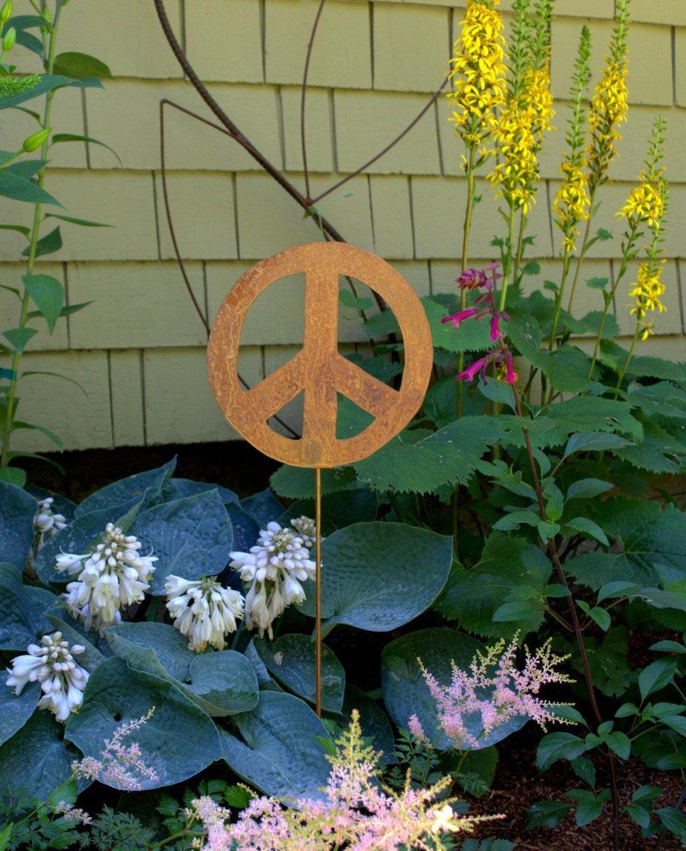 Metal Garden Stake- Artisan Crafted, Peace Sign Decor- Outdoor Garden Decorations by Oregardenworks