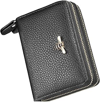 Solid Genuine Leather Accordion Wallet Zip Around ID Credit Card Case Holder New