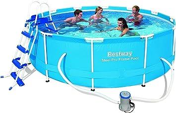 Bestway 12 pies x 39.5-inch 366 x 100 cm acero Pro marco piscina conjunto con bomba y escalera: Amazon.es: Jardín