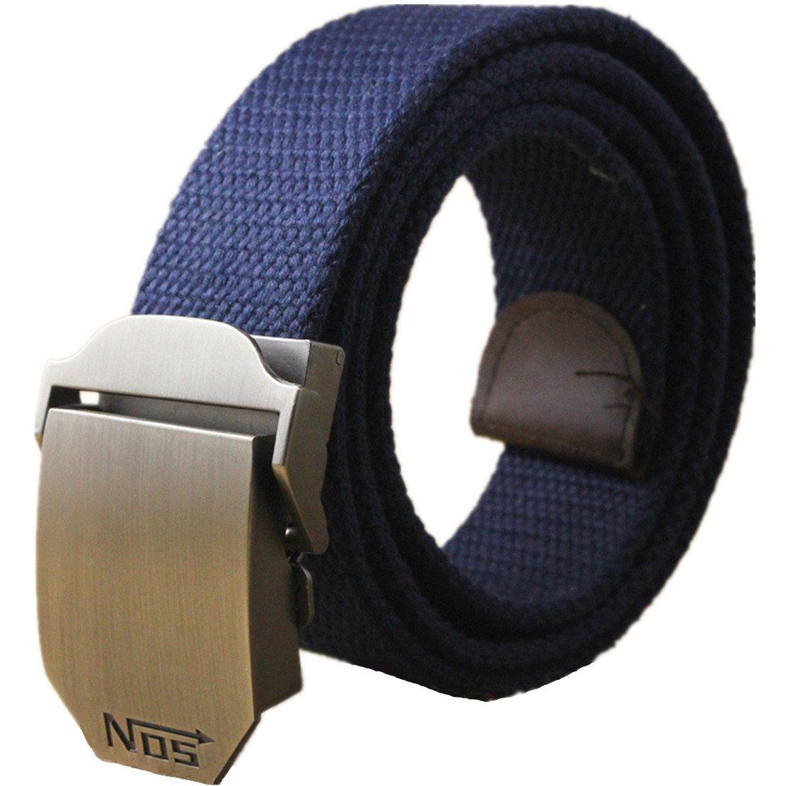 Winter Spark Belts Nylon Letter Design Metal Buckle Webbing Durable Thicken Canvas Men Belt (Navy Blue)
