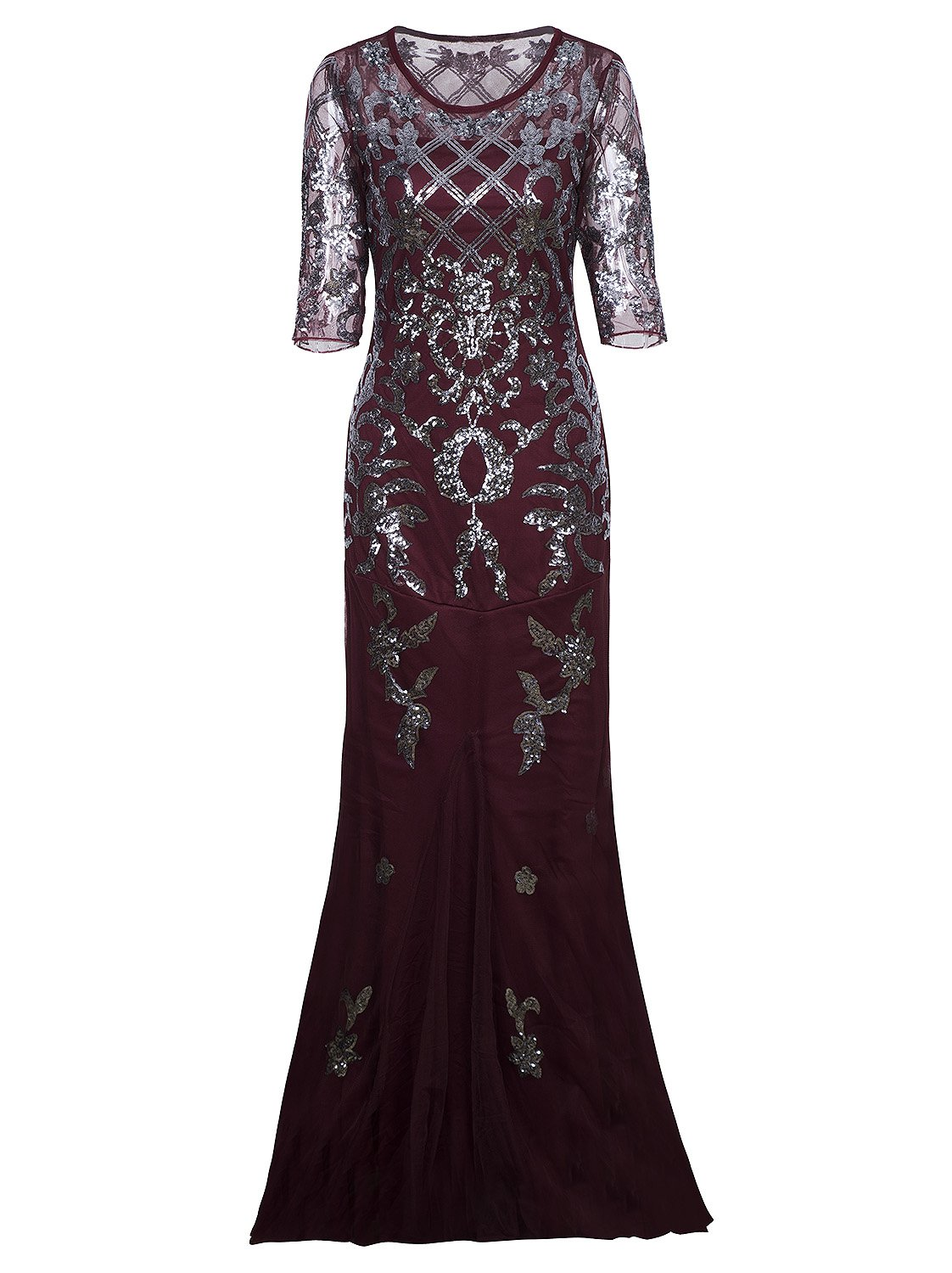 1e847003 Vijiv Vintage 1920s Long Wedding Prom Dresses 2/3 Sleeve Sequin Party Evening  Gown, Wine Red, X-Large