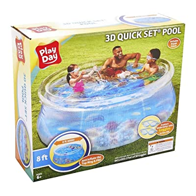 Play Day Kids 8ft 3D Transparent Quick Set Pool with 2 Goggles: Toys & Games