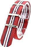 [2PiS] ( トリプルレッド・ダブルネイビー・ホワイト : 20mm ) NATO 腕時計ベルト ナイロン 替えバンド ストラップ 交換マニュアル付 8-1-20