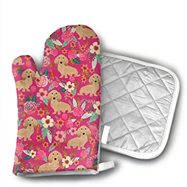 BenteLi Floral Doxie Dachshunds Oven Mitts,Professional Heat Resistant Microwave Oven Insulation Thickening Gloves Soft Inner Lining Kitchen Cooking Mittens