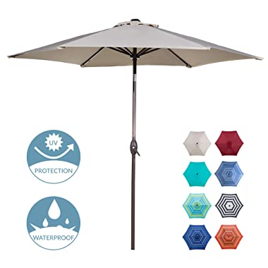 Abba Patio Outdoor Patio 9-Feet Aluminum Market Table Umbrella with Push Button Tilt and Crank, Beige