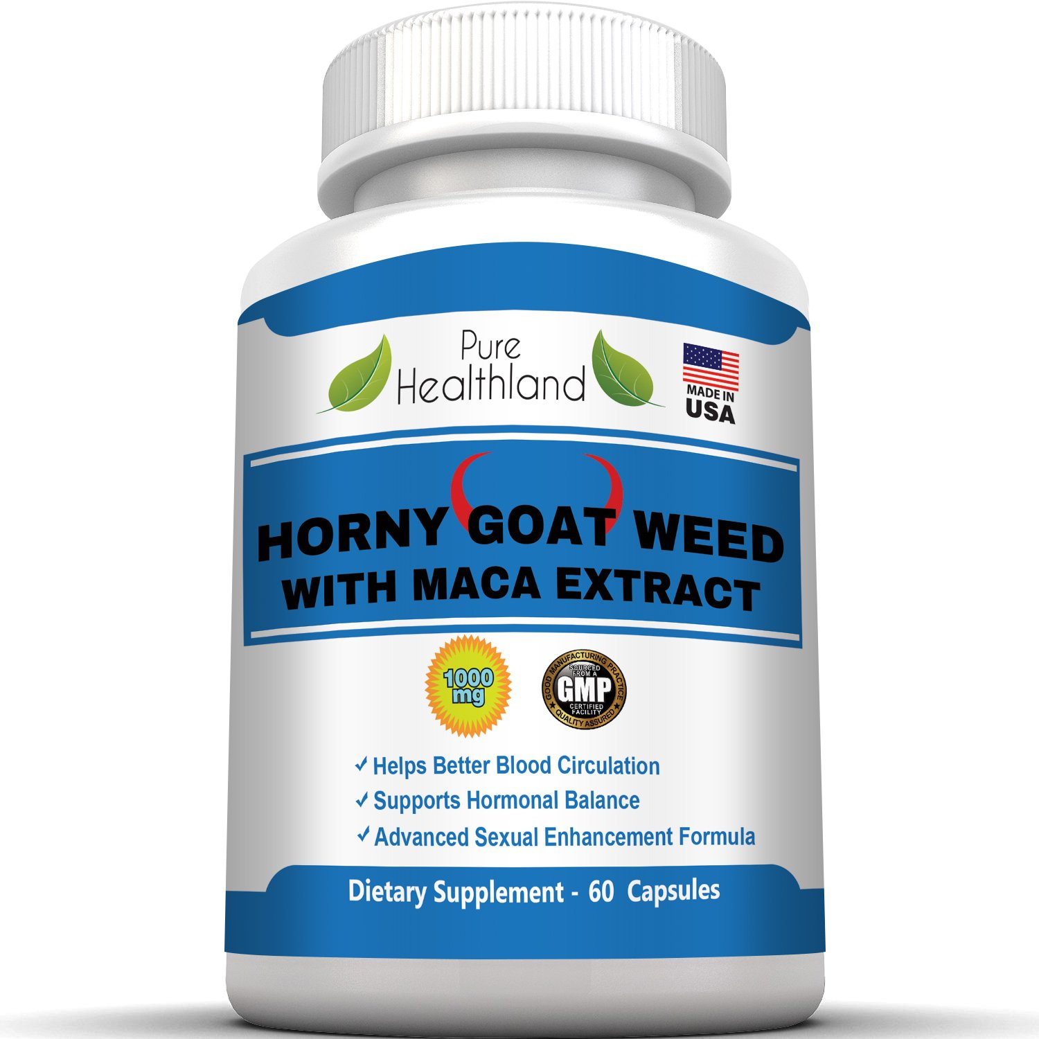 HORNY GOAT WEED 1000mg With MACA EXTRACT 250mg In Advanced Enhancement Formula For Men And Women, Helps Better Blood Circulation, Supports Hormonal Balance, Natural Herbal Energy Booster